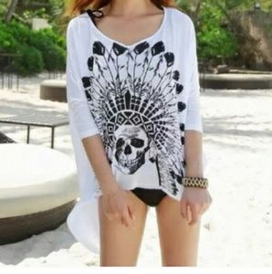 Other - Boho skull print bikini coverup tunic